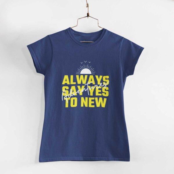 Adventures Women Navy Blue Round Neck T-Shirt