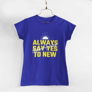 Adventures Women Royal Blue Round Neck T-Shirt