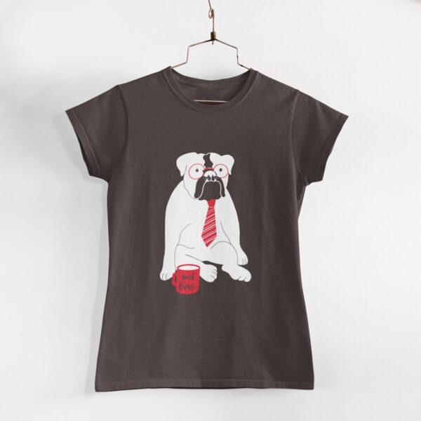 Best Boss Women Charcoal Grey Round Neck T-Shirt