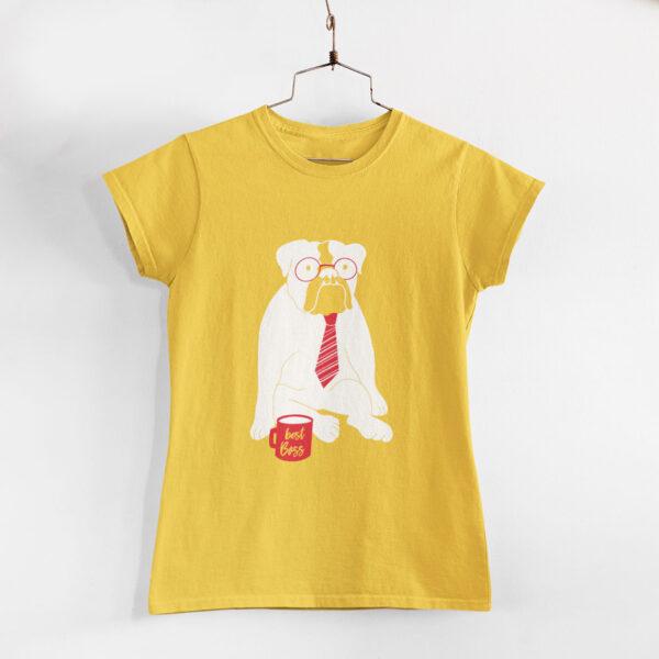 Best Boss Women Golden Yellow Round Neck T-Shirt
