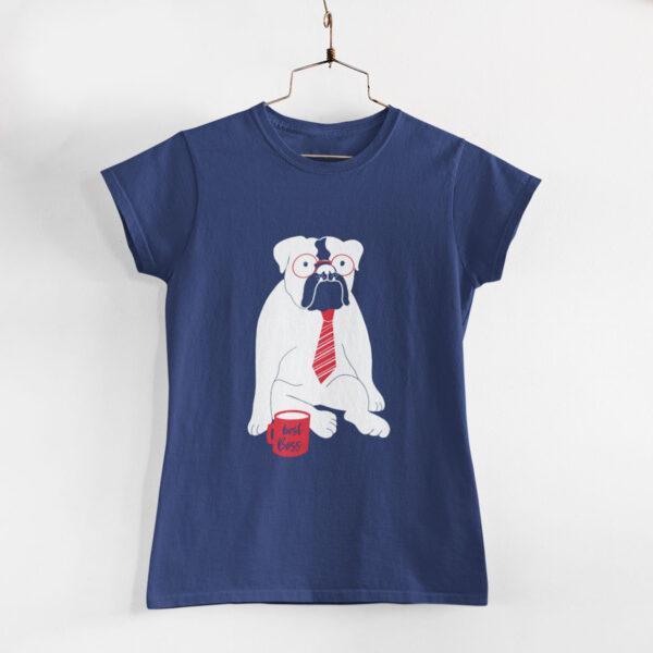 Best Boss Women Navy Blue Round Neck T-Shirt