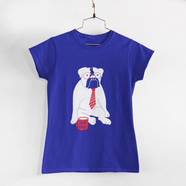 Best Boss Women Royal Blue Round Neck T-Shirt