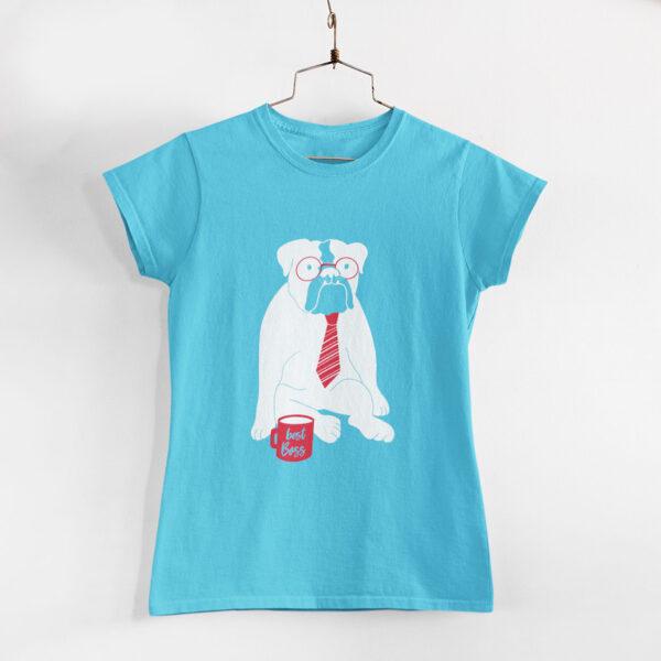 Best Boss Women Sky Blue Round Neck T-Shirt