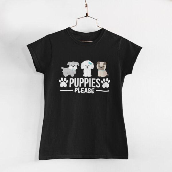Puppies Please Black Round Neck T-Shirt