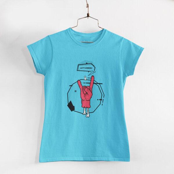 Let's Rock Women Sky Blue Round Neck T-Shirt