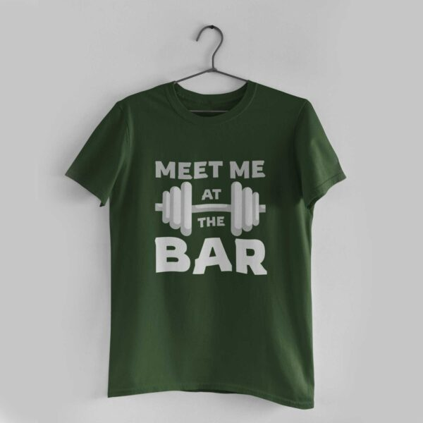Meet Me At The Bar Olive Green Round Neck T-Shirt