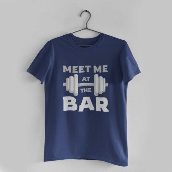 Meet Me At The Bar Navy Blue Round Neck T-Shirt