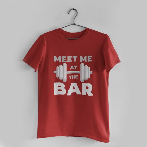 Meet Me At The Bar Red Round Neck T-Shirt