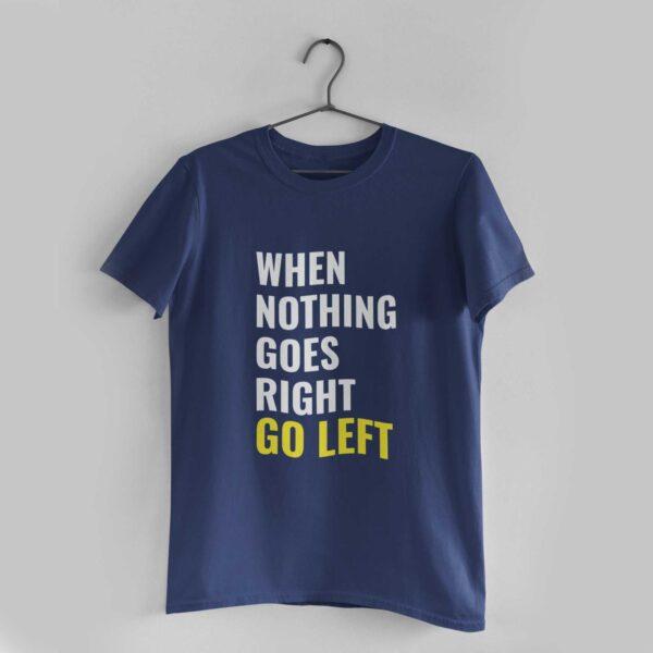 Go Left Navy Blue Round Neck T-Shirt