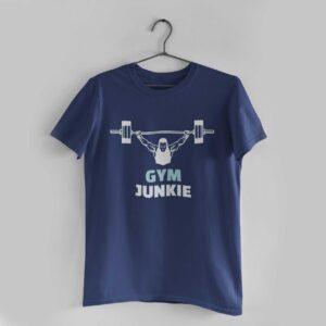 Gym Junkie Navy Blue Round Neck T-Shirt