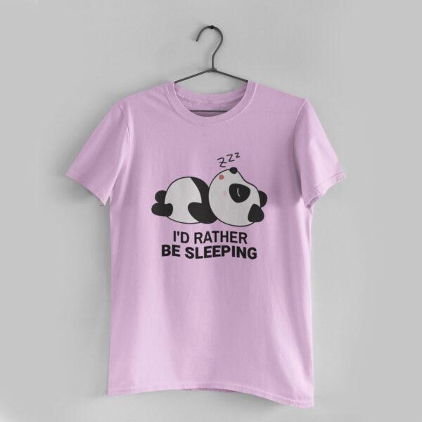 I'd Rather Be Sleeping Light Pink Round Neck T-Shirt