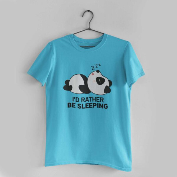 I'd Rather Be Sleeping Sky Blue Round Neck T-Shirt
