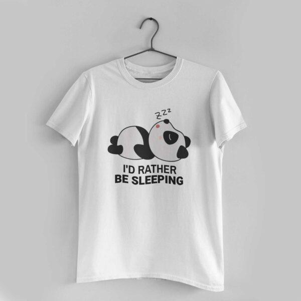 I'd Rather Be Sleeping White Round Neck T-Shirt