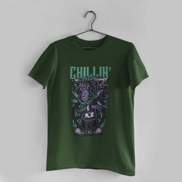 Chillin' Olive Green Round Neck T-Shirt