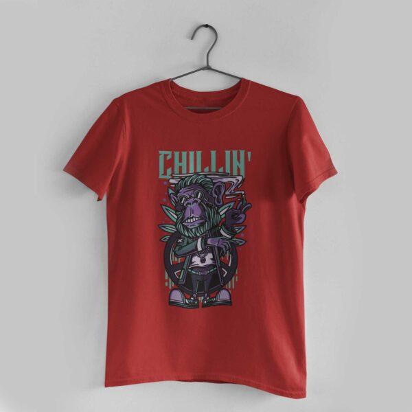 Chillin' Red Round Neck T-Shirt