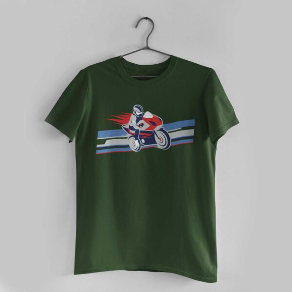 Biker Olive Green Round Neck T-Shirt