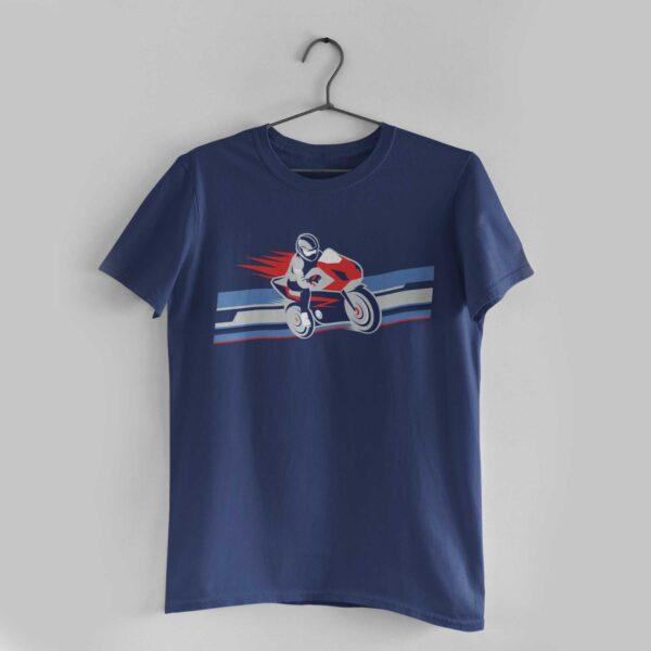 Biker Navy Blue Round Neck T-Shirt