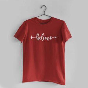 Believe Red Round Neck T-Shirt