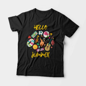 Hello Summer Kid's Unisex Black Round Neck T-Shirt