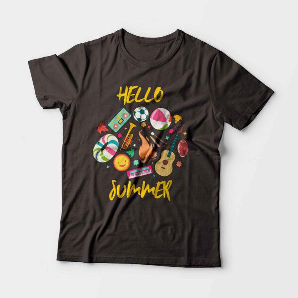 Hello Summer Kid's Unisex Charcoal Grey Round Neck T-Shirt