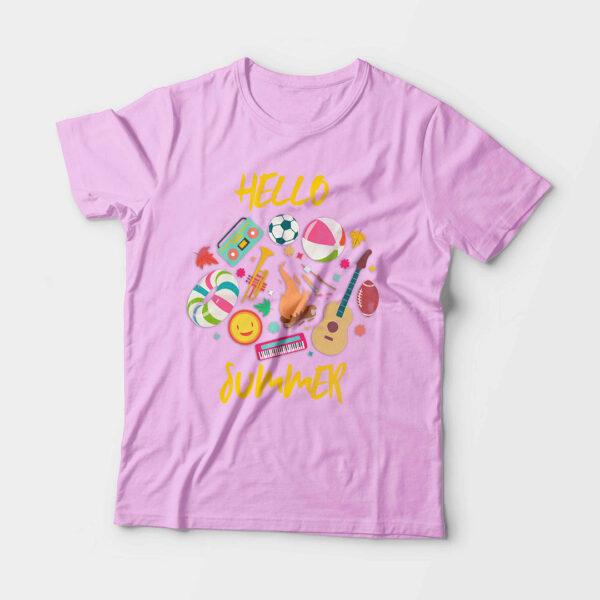 Hello Summer Kid's Unisex Light Pink Round Neck T-Shirt