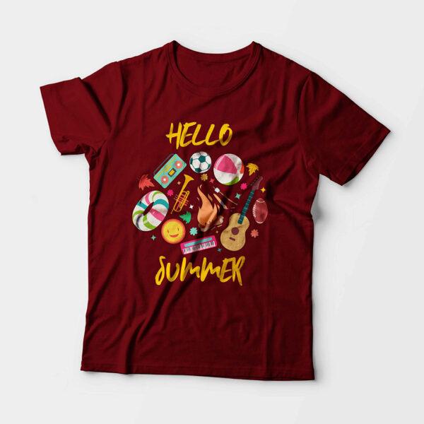 Hello Summer Kid's Unisex Maroon Round Neck T-Shirt
