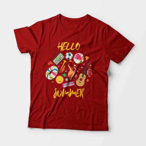 Hello Summer Kid's Unisex Red Round Neck T-Shirt