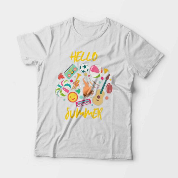 Hello Summer Kid's Unisex White Round Neck T-Shirt