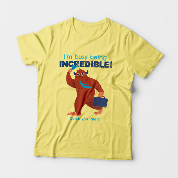 Incredible Kid's Unisex Butter Yellow Round Neck T-Shirt