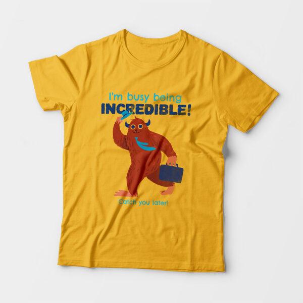 Incredible Kid's Unisex Golden Yellow Round Neck T-Shirt