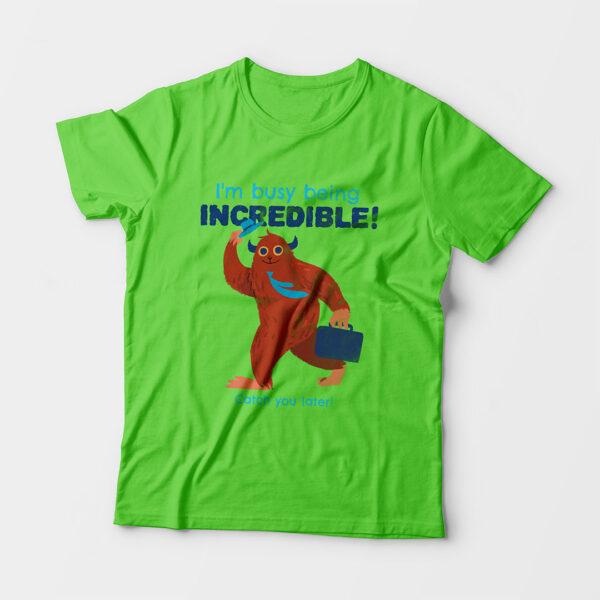 Incredible Kid's Unisex Liril Green Round Neck T-Shirt