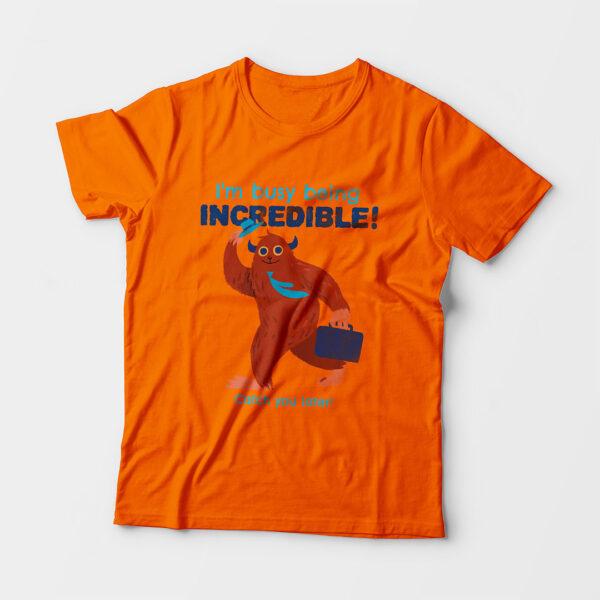 Incredible Kid's Unisex Orange Round Neck T-Shirt