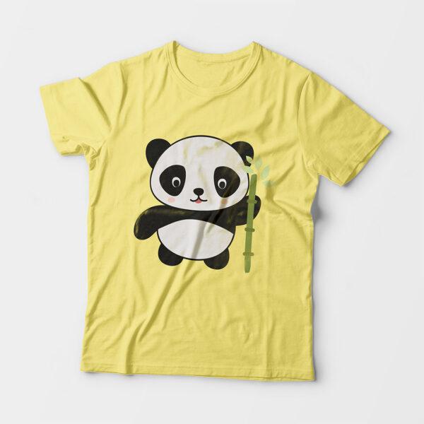 Panda Kid's Unisex Butter Yellow Round Neck T-Shirt