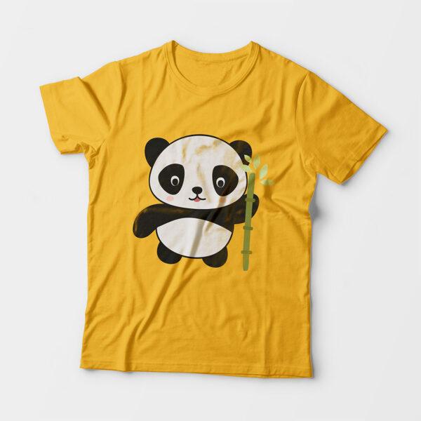 Panda Kid's Unisex Golden Yellow Round Neck T-Shirt
