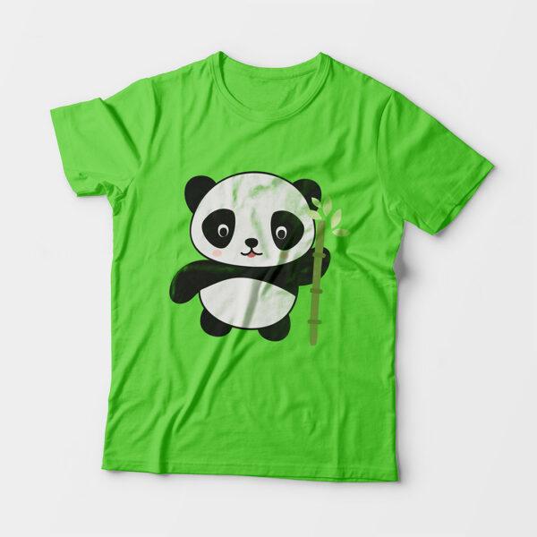 Panda Kid's Unisex Liril Green Round Neck T-Shirt