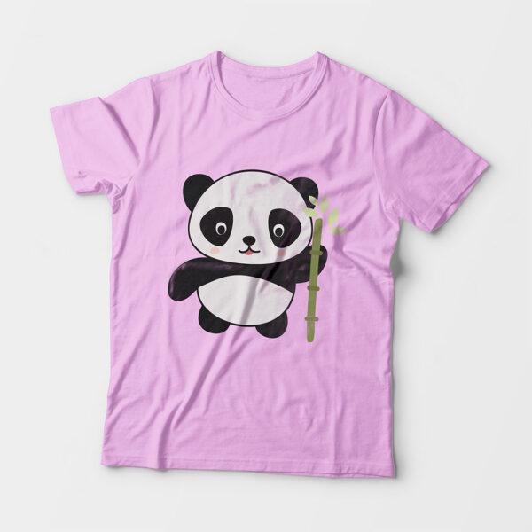 Panda Kid's Unisex Light Pink Round Neck T-Shirt