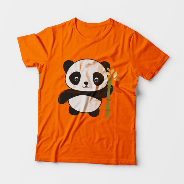 Panda Kid's Unisex Orange Round Neck T-Shirt