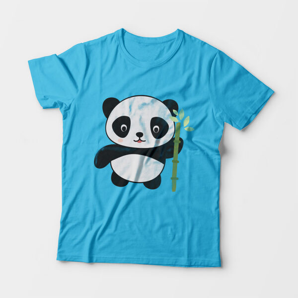 Panda Kid's Unisex Sky Blue Round Neck T-Shirt