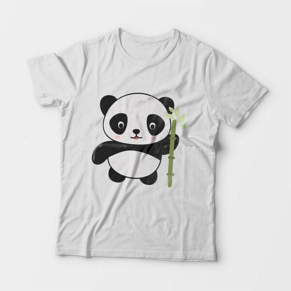 Panda Kid's Unisex White Round Neck T-Shirt
