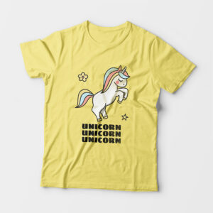 Unicorn Kid's Unisex Butter Yellow Round Neck T-Shirt