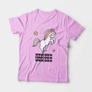 Unicorn Kid's Unisex Light Pink Round Neck T-Shirt