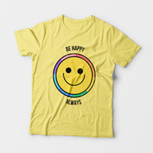 Be Happy Always Kid's Unisex Butter Yellow Round Neck T-Shirt