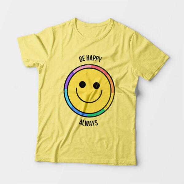 Be Happy Always Kid's Unisex Butter Yellow Round Neck T-Shirt