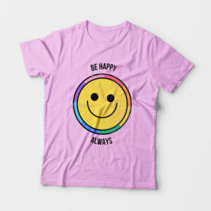 Be Happy Always Kid's Unisex Light Pink Round Neck T-Shirt
