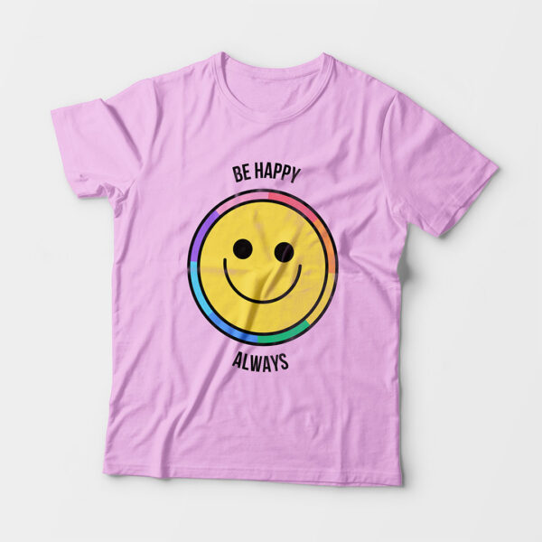 Be Happy Always Kid's Unisex Light Pink Round Neck T-Shirt