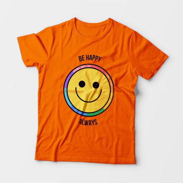 Be Happy Always Kid's Unisex Orange Round Neck T-Shirt