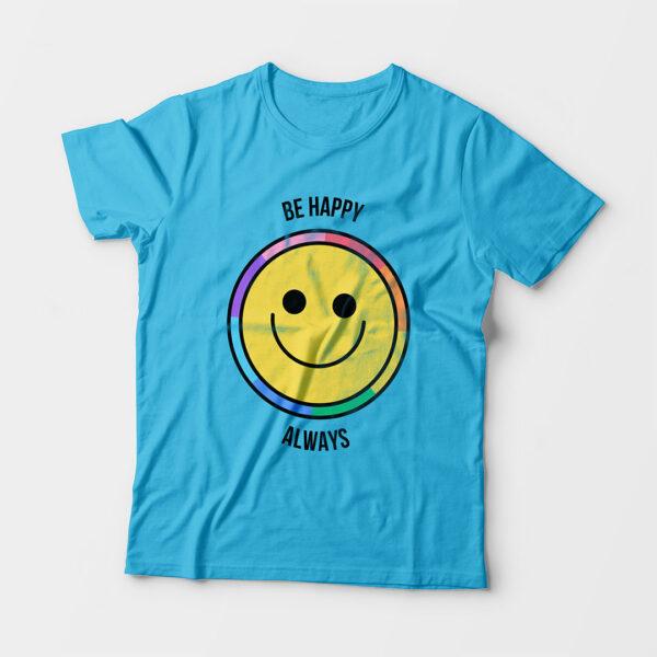 Be Happy Always Kid's Unisex Sky Blue Round Neck T-Shirt