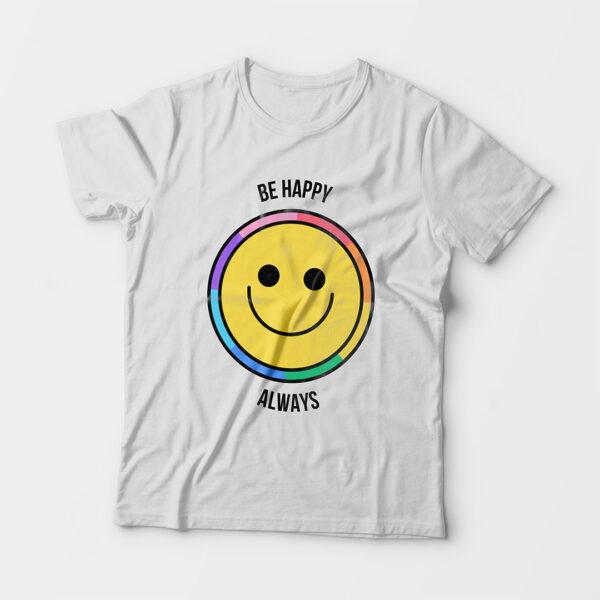 Be Happy Always Kid's Unisex White Round Neck T-Shirt