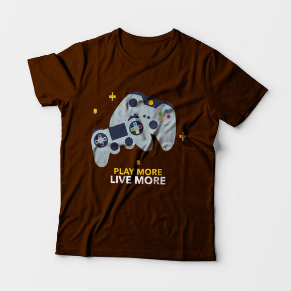 Play More Kid's Unisex Coffee Brown Round Neck T-Shirt