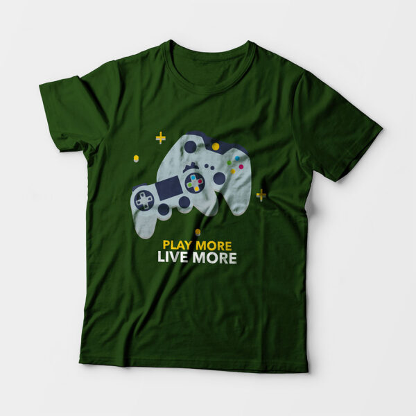 Play More Kid's Unisex Olive Green Round Neck T-Shirt